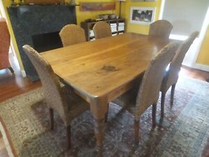 Dinning Table Kauri with 8 Rattan High Back Chairs