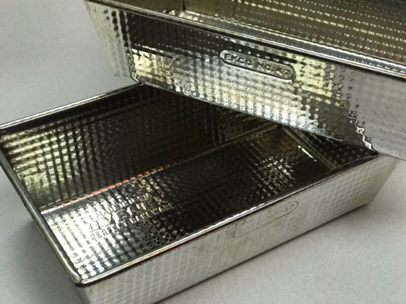 "Lot of 2 Vintage Ovenex USA Ekco No.47 Bread Pans Folded Ends 8"" X 4"" X 2.5""H"