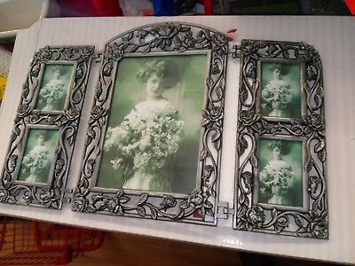 Rose Collage (SILVER GRAY METAL PEWTER ROSE TRI-FOLD HINGED 5 PHOTO COLLAGE PICTURE)