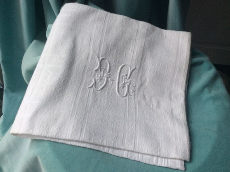 Antique French Linen Torchon Linen Dish Hand Tea Towel Metis Monogram Damask CG