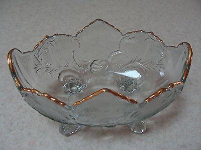 Vintage Jeannette Glass Clear Lombardi Bowl 22 K Gold Trimmed
