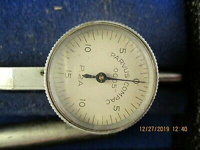 Vintage Precision Machinist Tools Compac P2a Dial Indicator In A Fitted Wood Box