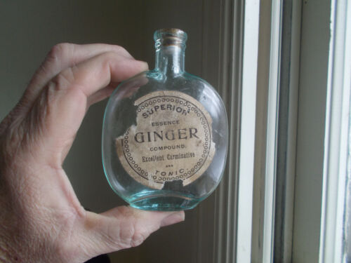 AQUA 1880s PUMPKINSEED FLASK ORIGINAL LABEL ESSENCE GINGER CARMINATIVE TONIC