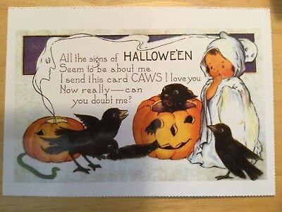 POSTCARD HALLOWEEN -HALLOWE'EN PUMPKIN & CROWS EARLY 20th CENTURY REPRO VIEW # 2 - Early Century Halloween