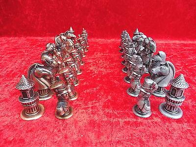 32 schöne,alte Schachfiguren__Metall__Napoleon__!