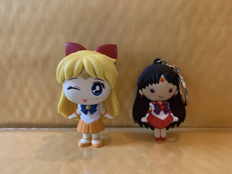 """Sailor Moon -Sailor Venus 2"""" Figure, Sailor Mars 2"""" Keychain"""