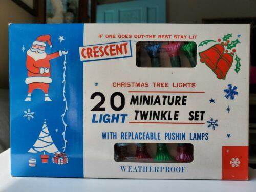 Vintage CRESCENT Christmas Twinkling Miniature Blinking 20-Light Set UNUSED!