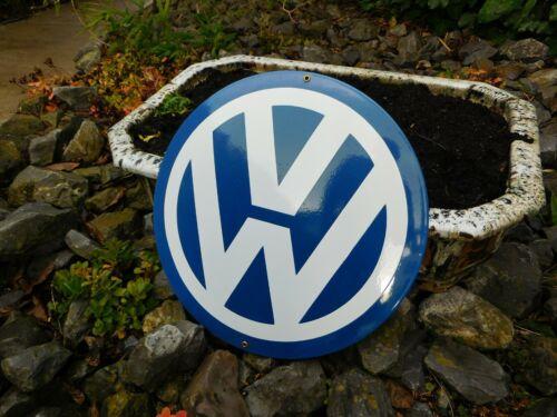 VOLKSWAGEN VW Gas & Oil Petrol Gasoline Garage Dealer Porcelain Enamel Logo Sign