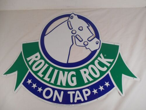 1992 ROLLING ROCK PREMIUM BEER Metal Horse Head Logo Cutout tin sign