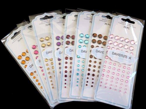 70 Self Stick Rhinestones by Tutera in 4 Sizes - 8 Colors- ADD