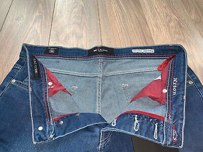 KITON- Waist 38- BLUE Jeans with Embroidered Badge