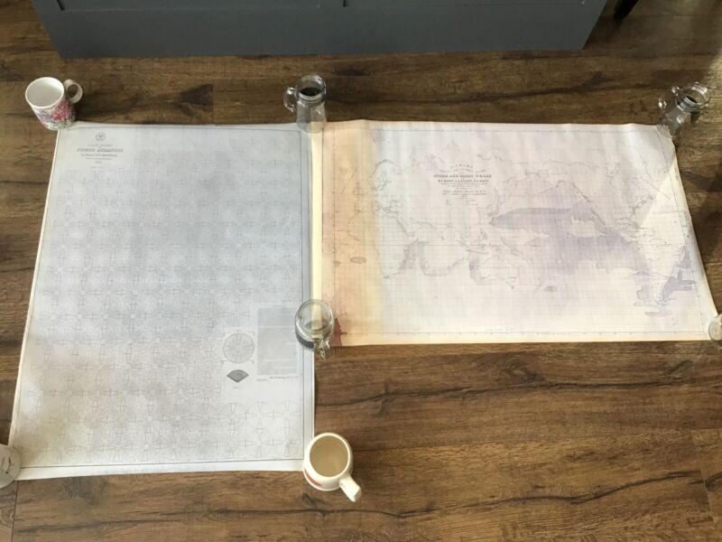 1853 COPIES Sperm/ Right Whale Chart & North Atlantic Pilot Chart Ship Naval