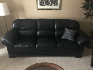 Two Leather Sofa Beds