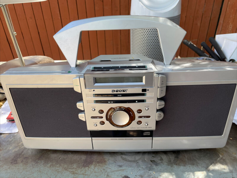 Sony ZS-D55 Portable Boombox Stereo CD Cassette Player AM/FM Radio TESTED!