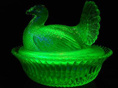 Green Vaseline glass Turkey hen on nest basket dish candy butter uranium yellow