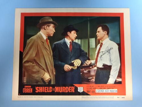 Original 1954 SHIELD for MURDER Movie Lobby Card 14 x 11 Signed by John Agar
