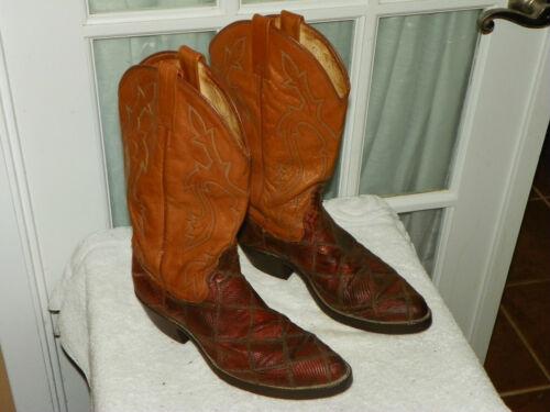 Dan, Post, Patchwork, Lizard, Skin, Cowboy, Western, Boots, Mens, size, 8, D,