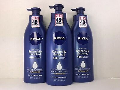 3 Nivea Body Lotion, Essentially Enriched, 48 Hr Deep Moisture Serum, 16.9 oz.