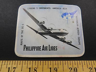 1940S 50S Philippine  Air Lines Airplane Image Luggage Label Sticker Travel