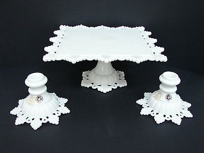 WESTMORELAND MILK GLASS PETAL & RING SQUARE PEDESTAL CAKE PLATE + 2 CANDLESTICKS