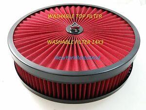 AIR CLEANER WASHABLE RED FILTER Edelbrock Carburetor Chevy Ford Mopar NEW