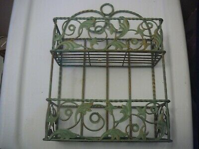 "Used, Shelf Green Iron Wall Hanging Shelf 14"" X 9"" X 4"" for sale  Shipping to India"