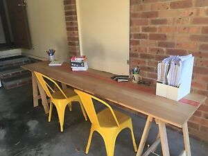 Wooden trestle table or double-length desk New Lambton Heights Newcastle Area Preview