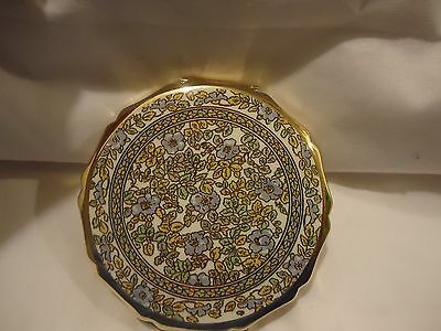 Beautiful Vintage Gold Art Deco Floral Powder Compact Mirror Made in Japan