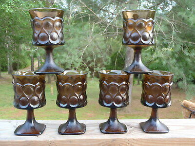 Vintage SET of 6 Noritake SPOTLIGHT Walnut Brown Glass 9 Oz WATER GOBLET GLASSES