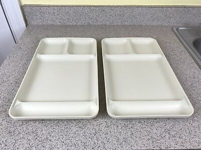Lot of 2 Vintage. Tupperware Divided Serving Trays/1535/Almond/Beige