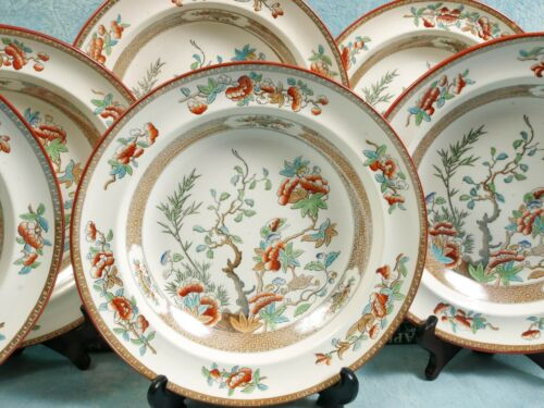 1860 COPELAND Spode Indian India Tree Green Rust Soup Plates SET 8 Victorian