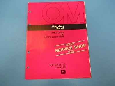 John Deere Operators Manual Om-ga11182 260 Rotary Snow Plow Issue J6 M4995