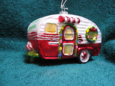 Travel Trailer Happy Camper Glass Ornament - Camping Camp Park RV Vacation Trips