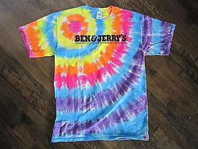 NEW BEN & JERRY'S TIE DYE T-shirt Vermont's Finest Ice Cream Tee ALL -