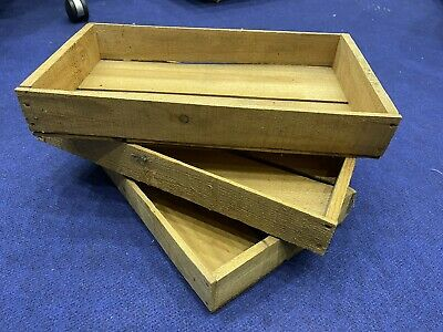 3 x Vintage Wooden Tray Crates. Reclaimed, Apple Crate Gardening Rustic Natural