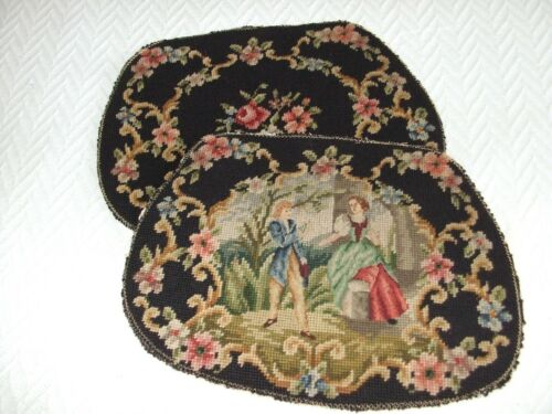 Set Of 2 Antique Needlepoints From Chair Seats