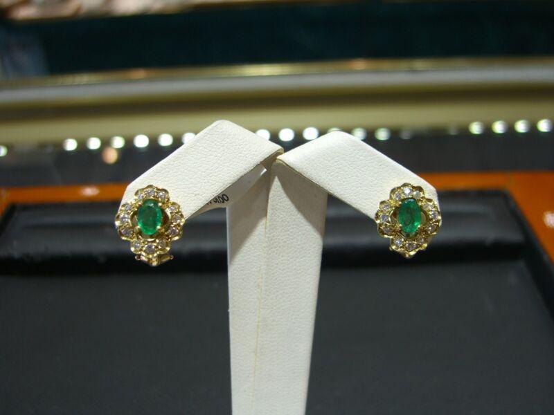 Fine Emerald & Diamond Womens Earrings 18 Karat Yellow Gold New Clip-on 1.70 Tcw