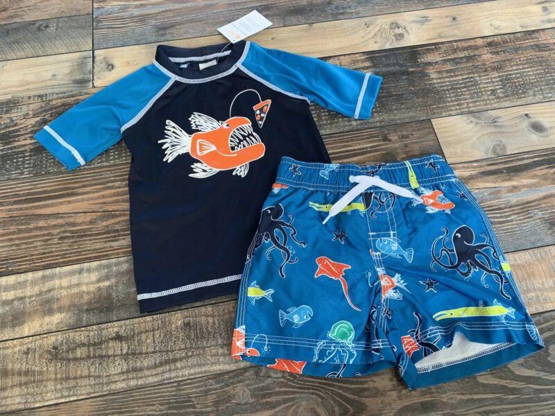 NWT Gymboree Boys Fish Octopus Swim Set Rashguard And Swim Trunks Suit 2t