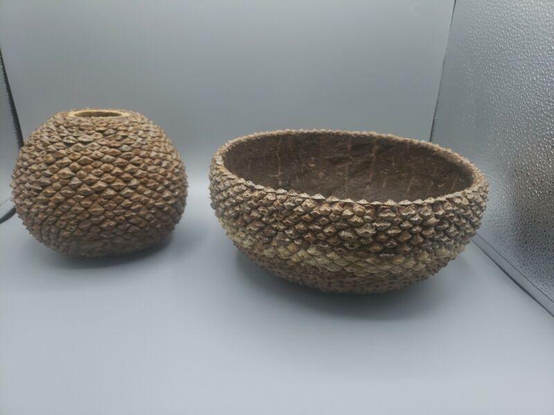 Decorative Bowl Folk Art Pine Cone Hand Made Primitive Country Chic Farmhouse