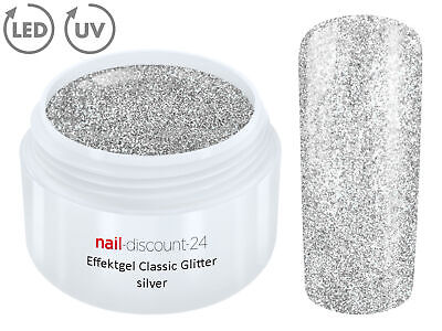 UV LED GEL GLITTER SILVER Glitzer Farbgel Effekt Color Nail Art Modellage Silber