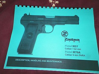 Used, ZASTAVA,  Tokarev, M57, 7.62mm,  M70A 9mm,  Instruction Manual,  17 Pages  for sale  Huachuca City