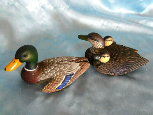 Heritage Decoys Wood Carved Mallard Duck, Hen and Chick 5 1/2""