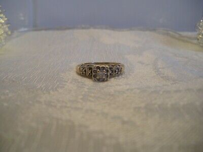 1940s Jewelry Styles and History BEAUTIFUL 1940'S 10K GOLD NATURAL DIAMOND RING, SIZE 6.25 $96.46 AT vintagedancer.com