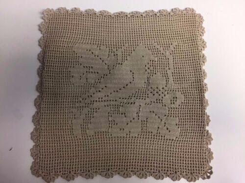 """Vintage 100% cotton Handmade Crochet Lace Pillow Case Decor square 10""""x10"""""""