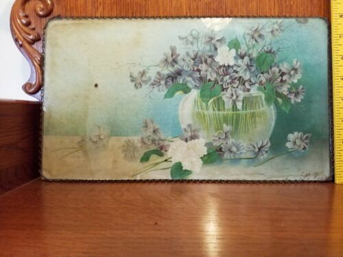 "Antique Signed 8""×14"" Flue Cover ""Vase of Violets"""