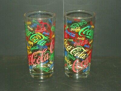 "2 Vintage Coca Cola Festive Multi-Colored 14 oz Drinking Glass Tumblers 6 1/4"""