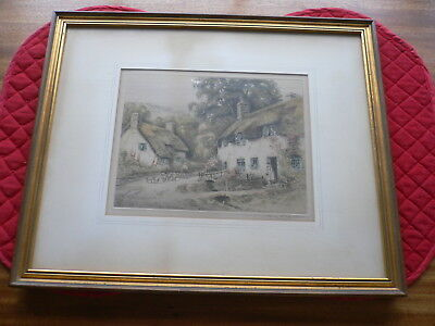 """Henry G Walker Etching Hand Coloured Signed in Pencil """"Cottages,People & Sheep"""""""