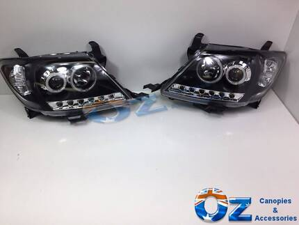 twin halo led drl projector headlight for 11 toyota hilux sr5