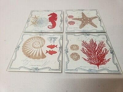 NWT Set of 4 Glass Coasters with Wooden Caddy-Starfish,Coral,Seahorse,Seashell