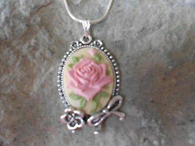 Pink Rose Cameo (ROSE CAMEO PENDANT NECKLACE (PINK) 925 PLATE CHAIN- BOW, FLOWER,)